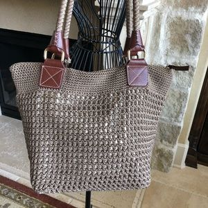Brown and gold purse